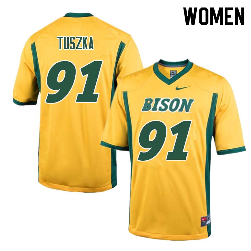 Women #91 Derrek Tuszka North Dakota State Bison College Football Jerseys Sale-Yellow